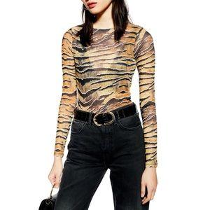 Topshop Semi Sheer Tiger King Print Bodysuit